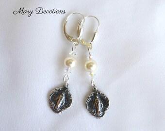 Sterling Silver and Pearl Miraculous Medal Earrings