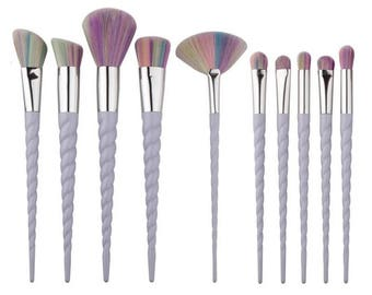 10 piece unicorn rainbow make up brush set