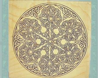 Bold Celtic Snowflake Large Knotwork Rubber Stamp Winter Holiday Christmas Crafting #100