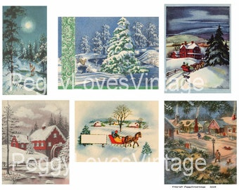 Wintry Scenes 2 Digital Collage from Vintage Christmas Greeting Cards -  Instant Download - Cut Outs