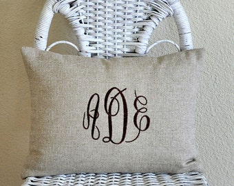 Monogrammed Lumbar Pillow Cover Natural Linen Blend Fabric Wedding Pillow Shower Gift Pillow