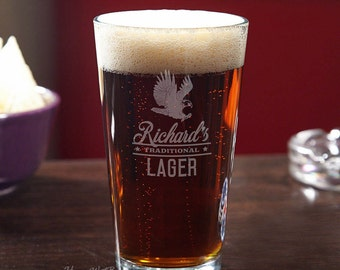 Personalized Eagle Beer Pint Glass - Featuring Rushmore Design - Engraved Gifts for Men - Beer Lovers - Perfect for Military Retirement