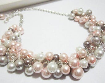 Pearl Bridesmaid Necklace, Pearl Bib Necklace, Pink White, Gray Blush Pearl Necklace, Bridesmaid Necklace, Chunky Cluster Necklace