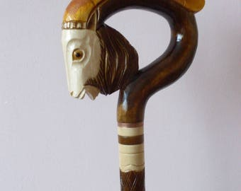 Ibex cane, walking stick, hiking, hand carved