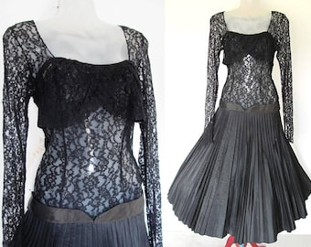 SALE 1950s Lace Dress / Black Pleated Silk Skirt / Vintage 50s Cocktail Dress / LBD Full Skirt Rockabilly Pinup Bombshell Party, S Small XS