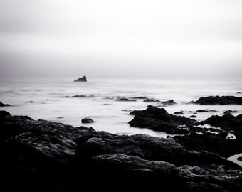 Shipwreck Ocean Photography, Shipwreck Nature Decor  - Black and White Giclee Fine Art Photography Print