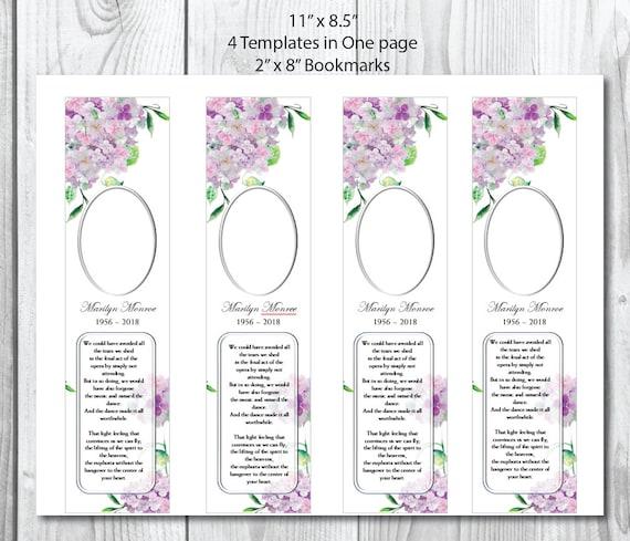 Pink Hydrangea Funeral Bookmark Template Memorial Bookmark