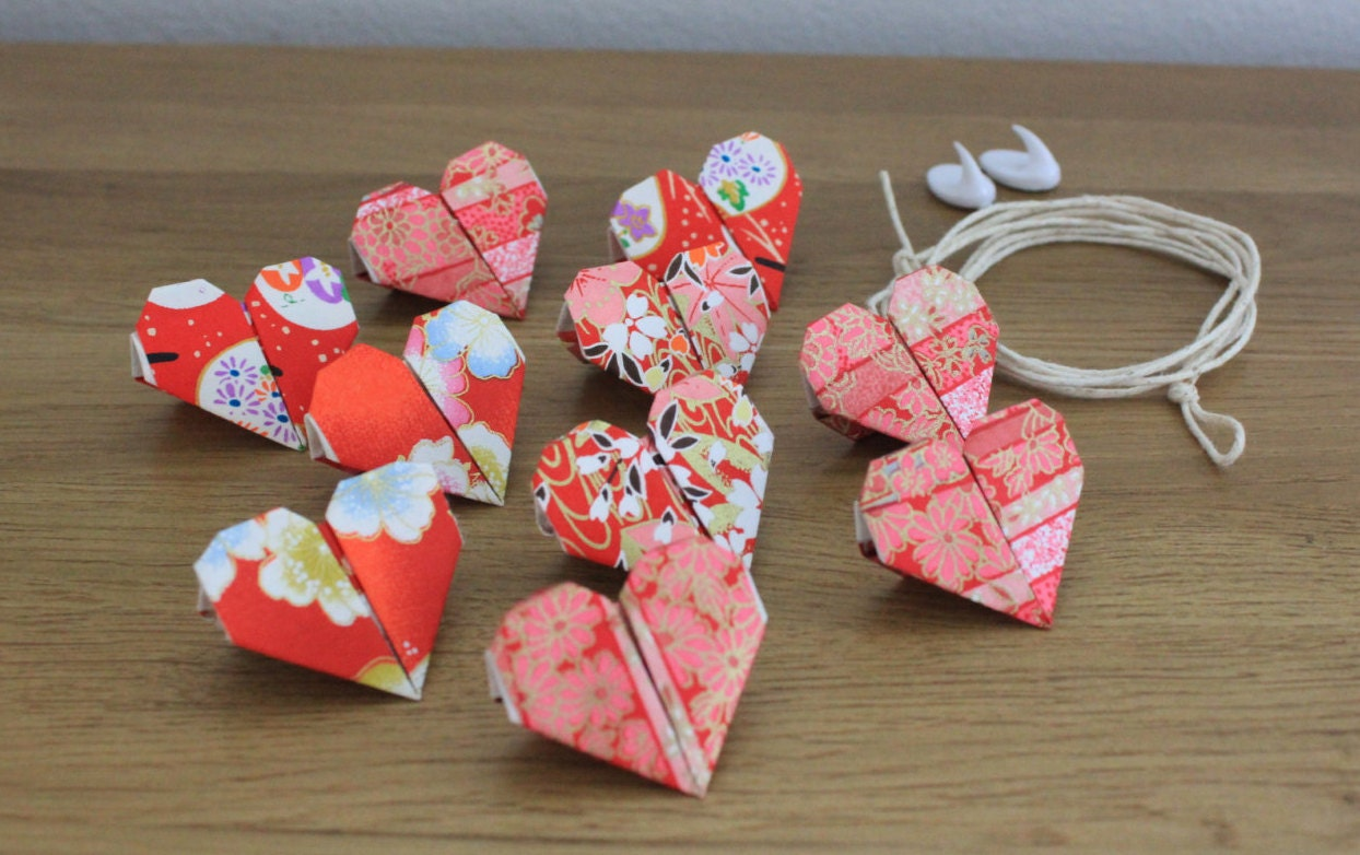 Red Heart Origami Bunting red bunting origami bunting