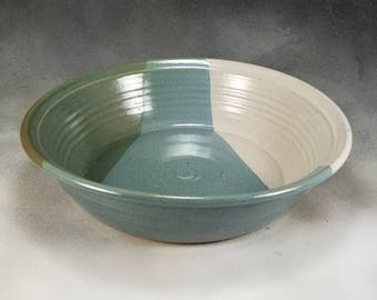 Blue Green and White Deep Dish Ceramic Pie Pan Hand Thrown Stoneware Pottery 4