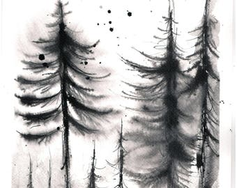Forest painting 8x12in, A4 on PAPER -black and white fir painting  3