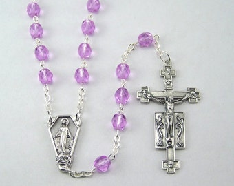 Violet Miraculous Medal Rosary with Czech Glass Beads (04)