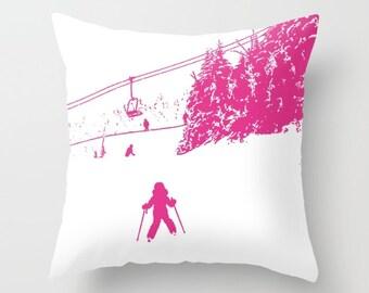 Little Skier Pink,pillow cover, 6 sizes,home decoration,winter decor,interior design,white, snow, ski decor, kids decor, kids pillow, skiing