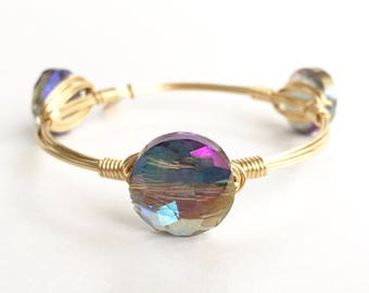 Iridescent Blue Crystal Wire Bangle, Wire Bangle, Bourbon and Boweties Inspired