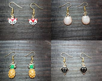 Pretty gold plated drop style earrings with your choice of enamel filled charm - dangly / hook