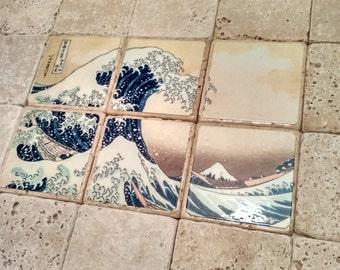 The Great Wave,  Decorative Tile Set