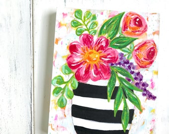 Floral Bouquet Original Painting on 8x10 inch cradled wood panel