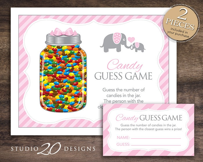 instant download pink elephant candy guessing game baby. Black Bedroom Furniture Sets. Home Design Ideas