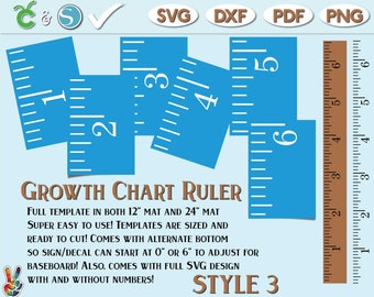 Growth Chart Ruler Stencil File - SvG - DxF - PdF | DIY growth chart ruler sign | Growth Chart Ruler wall decal SVG