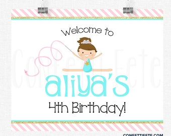 Gymnastics Welcome Sign, Pink and Gold Sign, Gymnastics Birthday Sign, Gymnastics Party Decoration, Printable 8x10 Sign