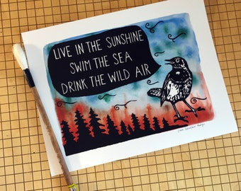 LIVE in the SUNSHINE - archival print made from original linocut and watercolor painting with bird, trees, wind ralph waldo emerson quote