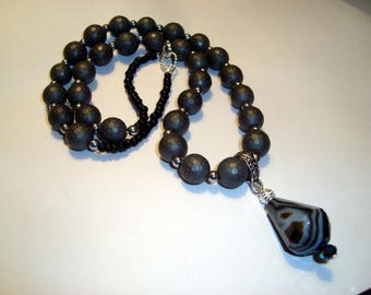 Black and Grey Hematite Beads, Silver Beads and Lovely Agate Teardrop Pendant Necklace, Handmade, BOHO, Nature, Womens Gift, adjustable