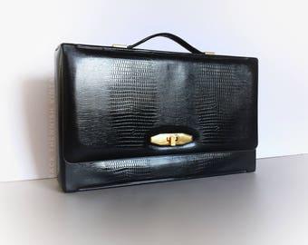 50's Laptop Briefcase Office Travel Case Black Croc Embossed Vinyl Vegan Sleek Mid Century Modern Purse