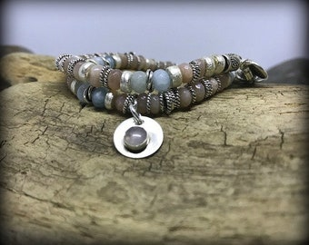 Beachy Sterling Silver, Peach Moonstone and Aquamarine Double Wrap Bracelet