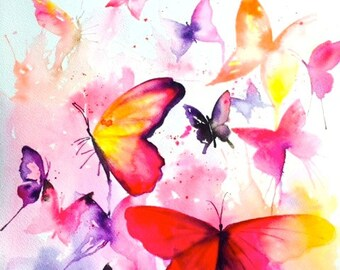 Colorful Butterflies Watercolor by Lana Moes, Wanderlust Illustration, Fashion  Butterflies Collection, Rainbow Colors, Colorful Home