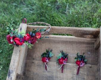 wedding set wedding flowers flower crown boutonniere  head wreath woodland wedding barn wedding bridal accessories marsala bordeaux wedding