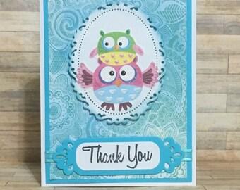 Greeting card, handmade card, thank you card, owl card, occasion card, blue. Handmade greeting card.