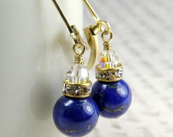 Lapis Lazuli Earrings, Blue Gemstone Jewelry, Lapiz Gold Filled Earrings, Royal Blue Bridesmaid Earrings Handmade Jewelry, Wedding