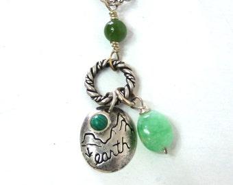 Earth Malachite Chrysprase Sterling Silver Charm Necklace