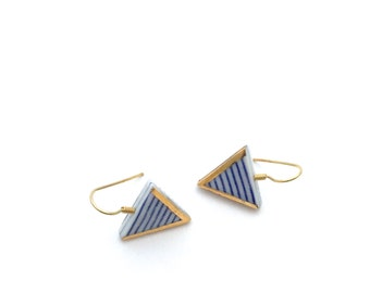 Nautical ceramic earrings, Porcelain jewelry, sailor stripes, ceramic jewelry, Minimalist earrings, Graphic pattern, blue and white ceramics