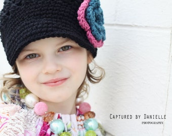 Girls hat with flower, brimmed hat for teen, tween, child, baby Newsgirl Newsboy Crochet Hat in Black with Antique teal and Old Rose Flower