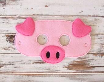 Pig Mask, Felt, Kids Mask - 3 Little Pigs, Fairy Tale, Animal Mask, Costume