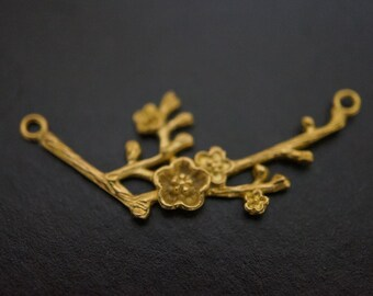 Vintage Solid Brass High Quality Simple Tree Twigs Flowers Charm Sticks Connectors - 1 piece