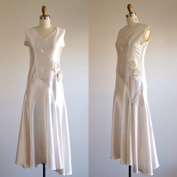 Satin wedding dress simple wedding dress 1930s wedding dress for Simple wedding dresses for small wedding