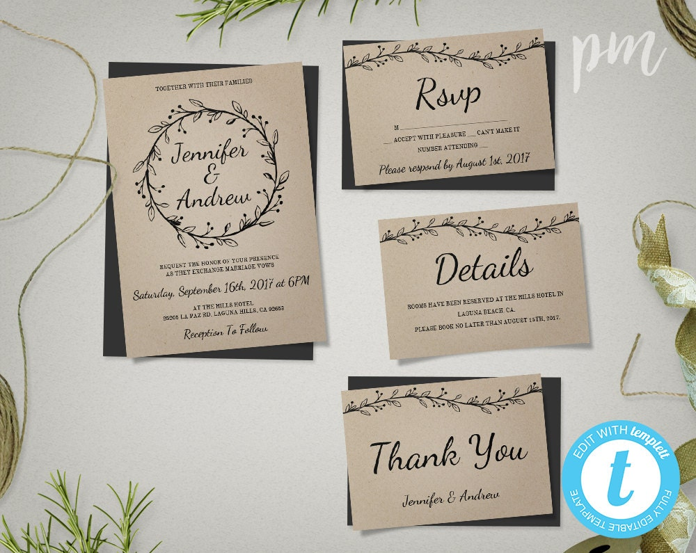 Wedding Invitation Suite Templates: Rustic Wedding Invitation Template Suite With Wreath Kraft