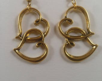 Gold double heart earrings