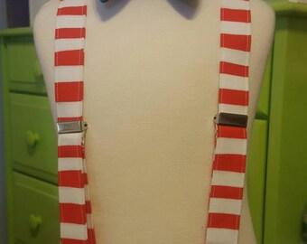 Children's Suspenders or Bowtie, Bow tie,  Dr Seuss, Cat in the Hat Fabric