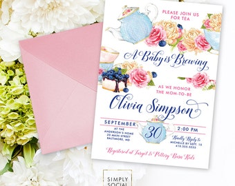 Baby Shower Tea Invitation - A Baby is Brewing Mommy to be Peony Ranunculus Watercolor Tea pot Tea Cup It's a Girl Printable Invitation