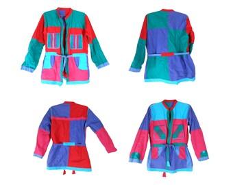 Pastel Grunge/ Pastel Jacket/ Colorblock Jacket/ 80s Pastel/ Reversible Jacket/ Quilted Jacket/ Patchwork Jacket/ Hippie Coat/ Boho Jacket