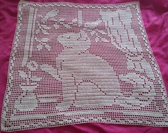 handmade lace doily ecru cotton cat inspired