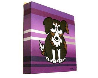 Border Collie Dog on Purple Stripes acrylic painting - original art of black, brown and white dog on square canvas, cute nursery art