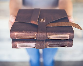 RESERVED for Bonnie: Large leather photo album. Pick your own leather and thread colors. (Ships in 4-6 weeks.)