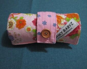 Handmade baby changing mat 100% cotton-Pink,oriental flowers.