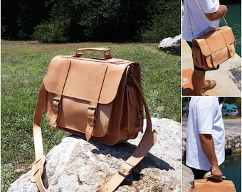 Leather Briefcase, 13 inch Laptop Bag. Full Grain Leather Handmade in Greece.