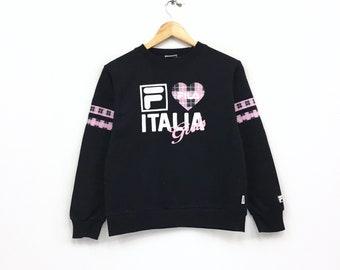 Rare!!Vintage Fila Sweatshirt Spellout Big logo Pullover Jumper hiphop streetwear sportswear vintage men clothing
