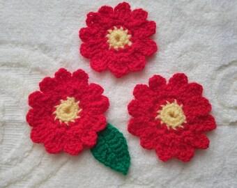 Flower crochet motif, set of 4, Crochet flower appliques, red and yellow crochet flower, crochet flowers set, embellishment applique, diy