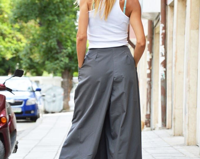 Loose Wide Leg Pants, Cotton Pants, Womens Harem Pants, Extravagant Grey Trousers, Plus Size Pants by SSDfashion